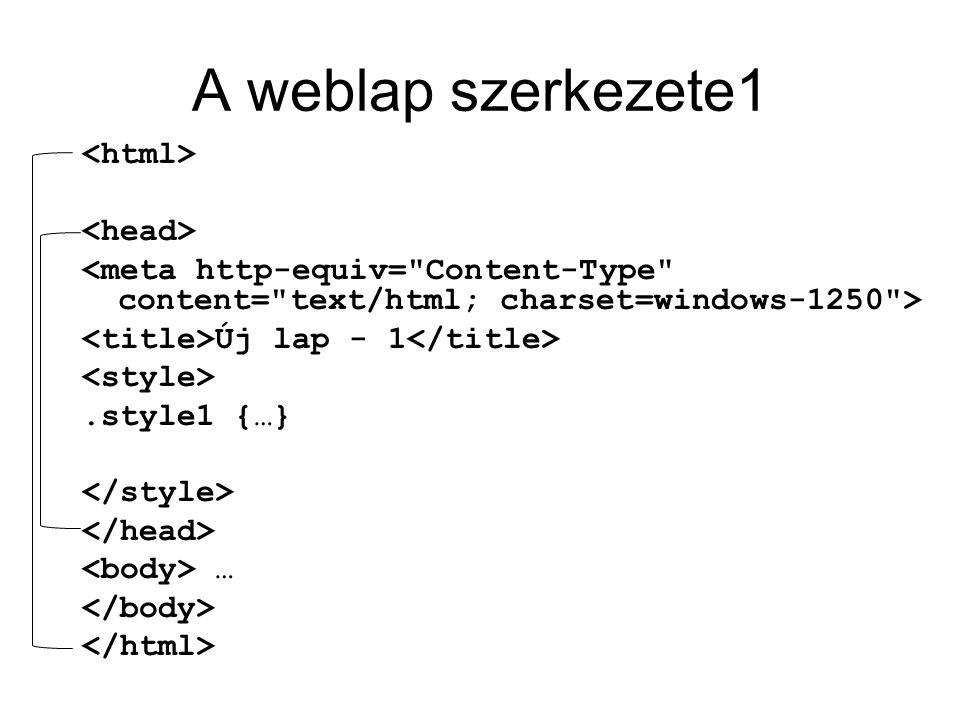 A weblap szerkezete1 <html> <head>