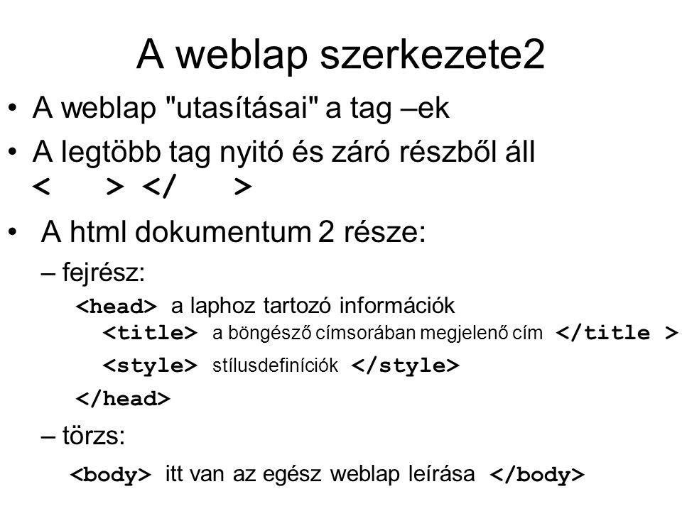 A weblap szerkezete2 A weblap utasításai a tag –ek