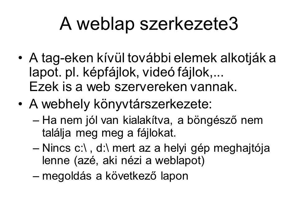 A weblap szerkezete3 A tag-eken kívül további elemek alkotják a lapot. pl. képfájlok, videó fájlok,... Ezek is a web szervereken vannak.
