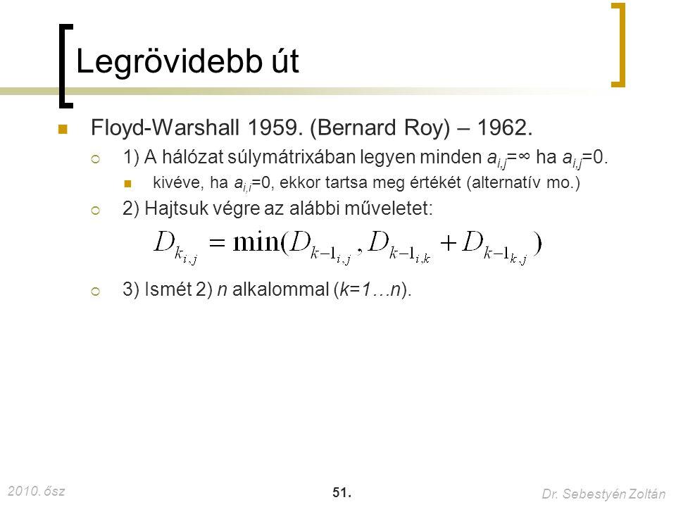 Legrövidebb út Floyd-Warshall 1959. (Bernard Roy) – 1962.