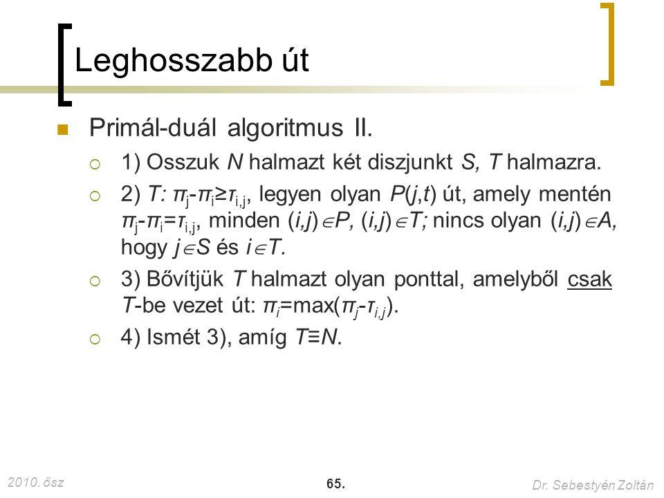 Leghosszabb út Primál-duál algoritmus II.