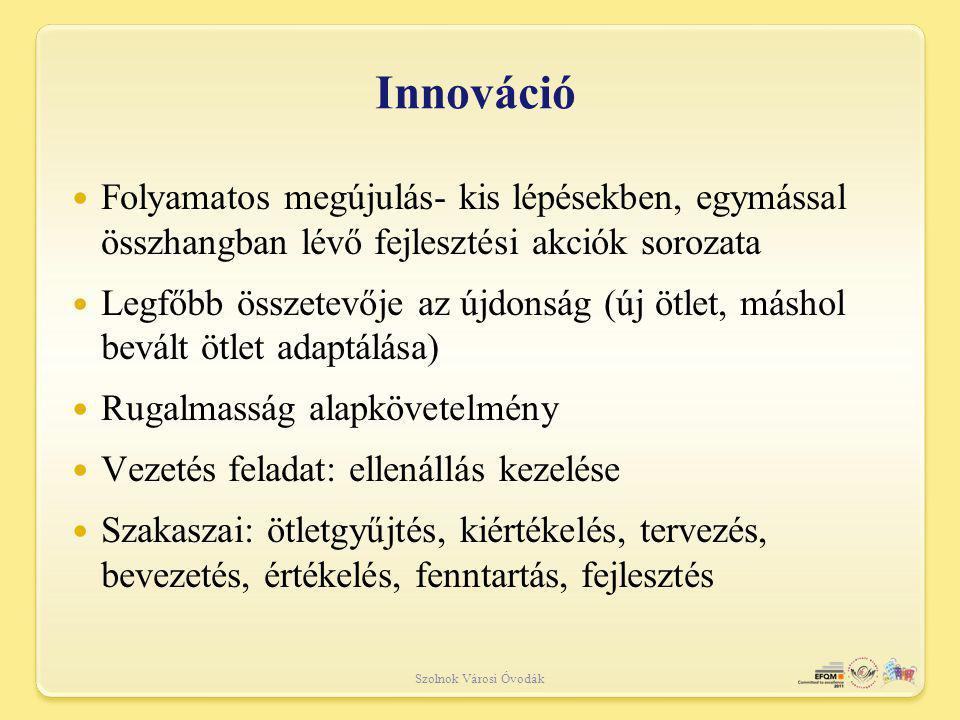 Innováció Folyamatos megújulás- kis lépésekben, egymással összhangban lévő fejlesztési akciók sorozata.