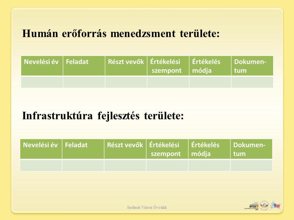 Humán erőforrás menedzsment területe: Infrastruktúra fejlesztés területe: