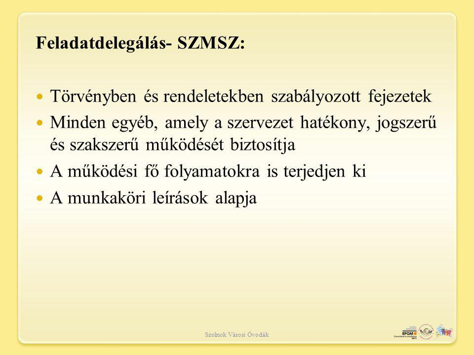 Feladatdelegálás- SZMSZ: