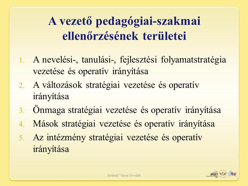A vezető pedagógiai-szakmai ellenőrzésének területei