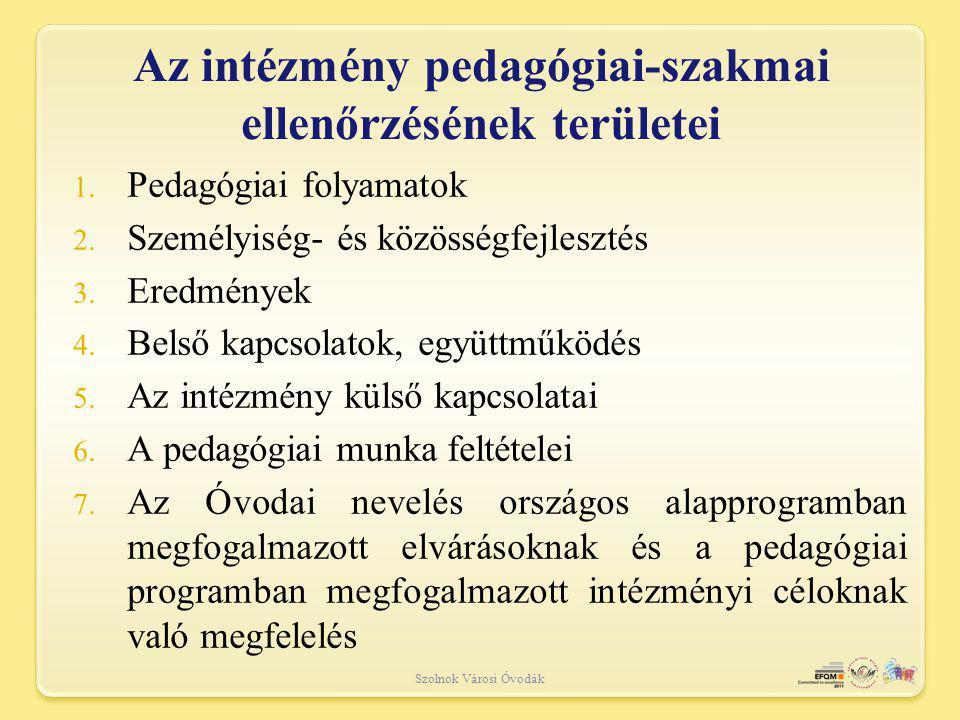Az intézmény pedagógiai-szakmai ellenőrzésének területei
