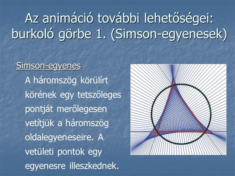 Az animáció további lehetőségei: burkoló görbe 1. (Simson-egyenesek)