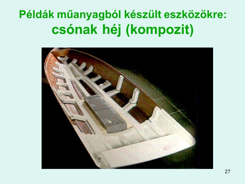 Példák műanyagból készült eszközökre: csónak héj (kompozit)