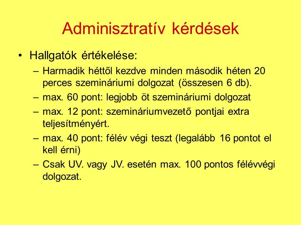 Adminisztratív kérdések