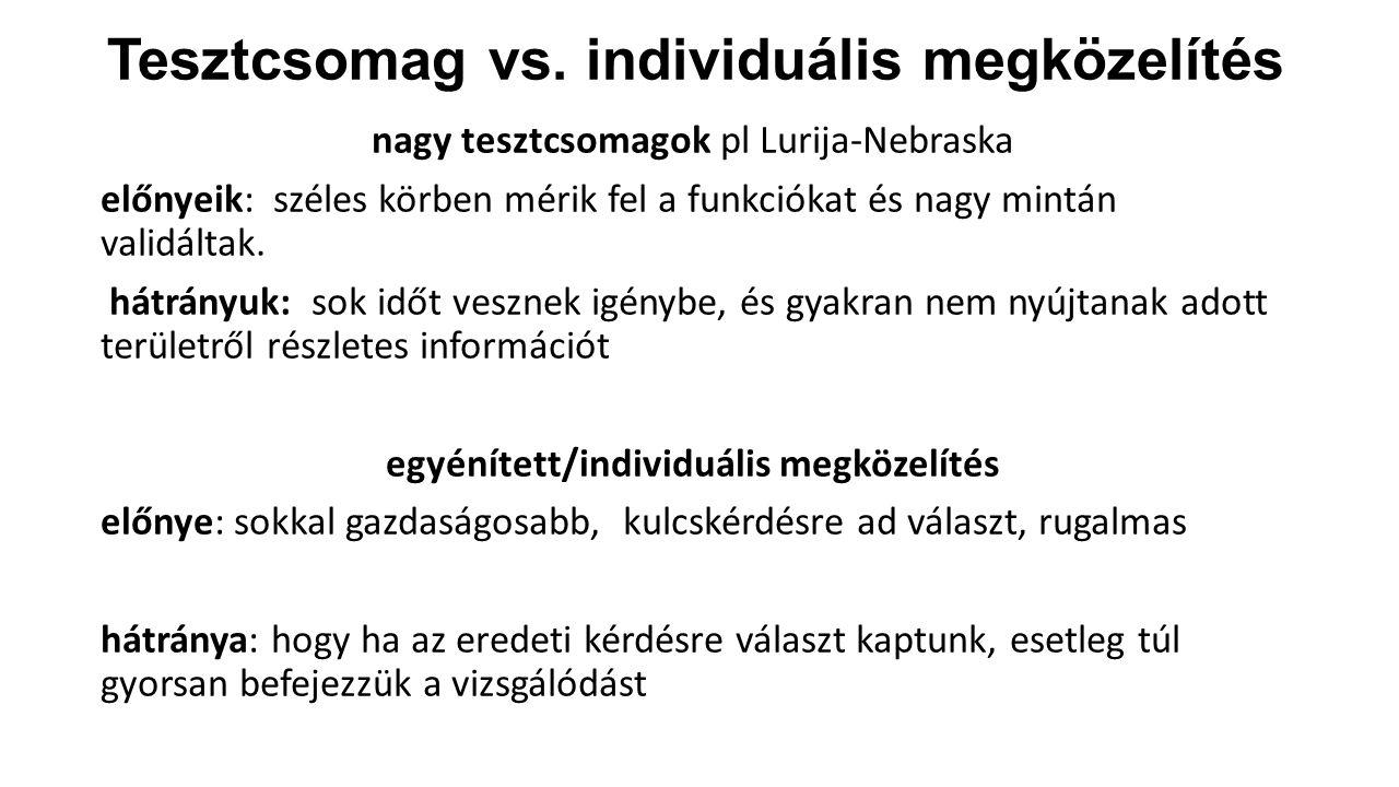 Tesztcsomag vs. individuális megközelítés