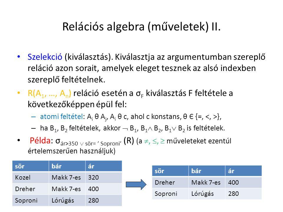 Relációs algebra (műveletek) II.