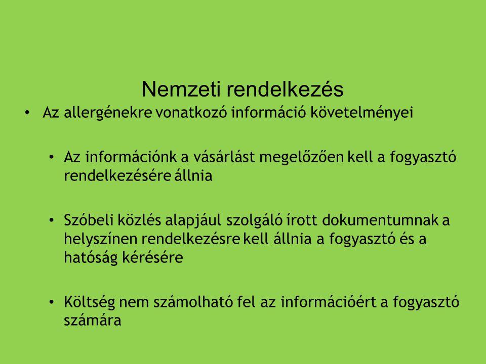 Nemzeti rendelkezés Az allergénekre vonatkozó információ követelményei