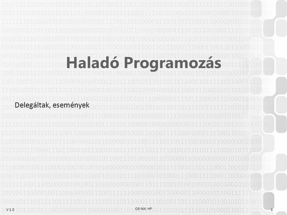Haladó Programozás Delegáltak, események OE-NIK HP 1