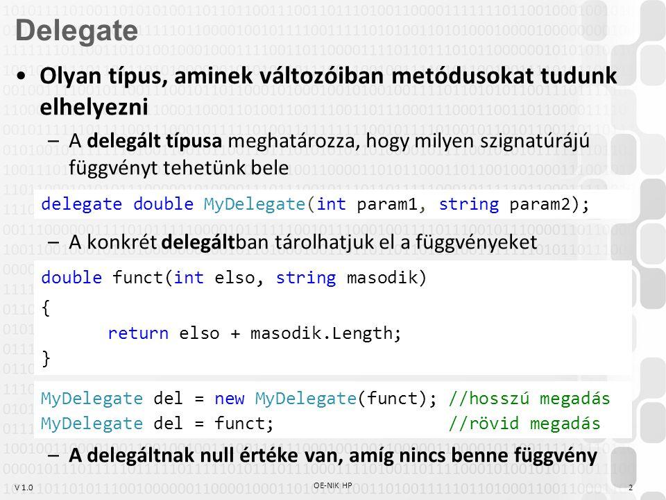 Delegate Olyan típus, aminek változóiban metódusokat tudunk elhelyezni