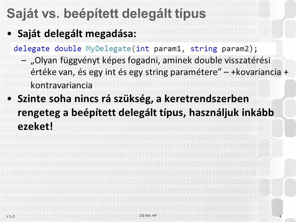 Saját vs. beépített delegált típus
