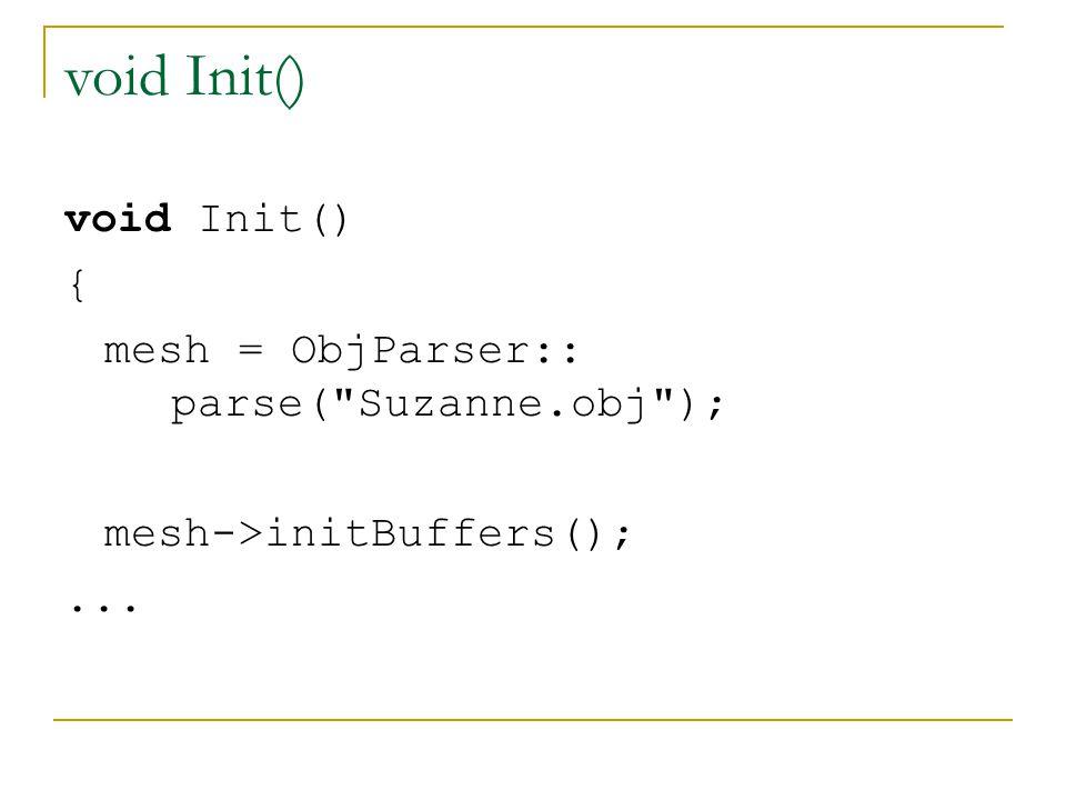 void Init() void Init() { mesh = ObjParser:: parse( Suzanne.obj );