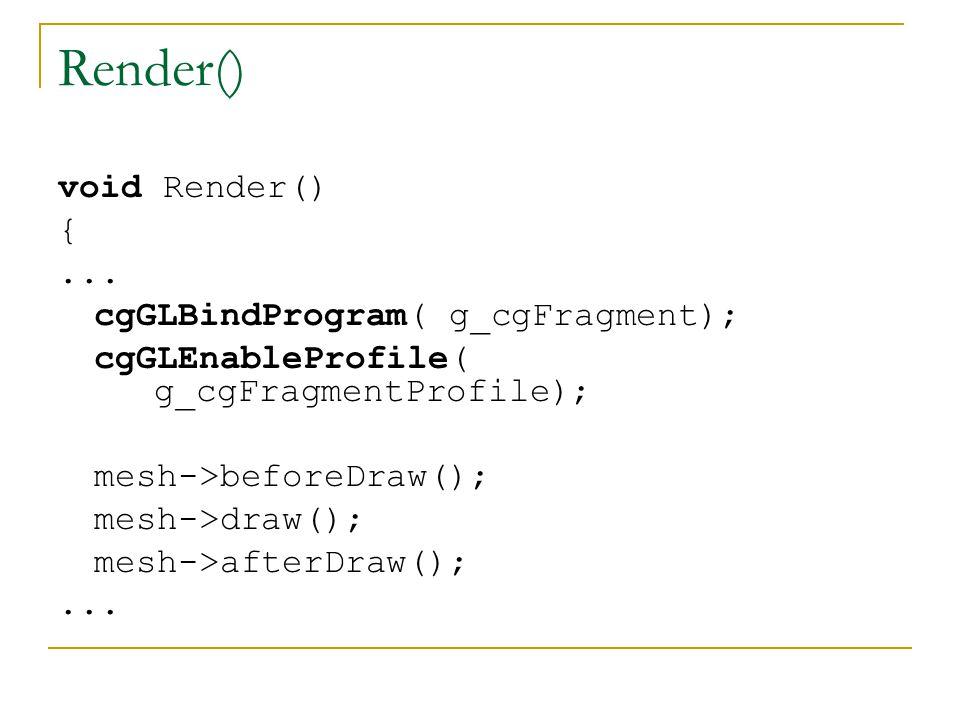 Render() void Render() { ... cgGLBindProgram( g_cgFragment);