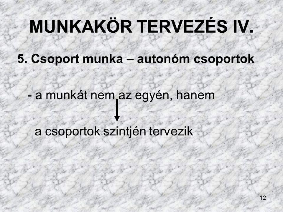 MUNKAKÖR TERVEZÉS IV. 5. Csoport munka – autonóm csoportok