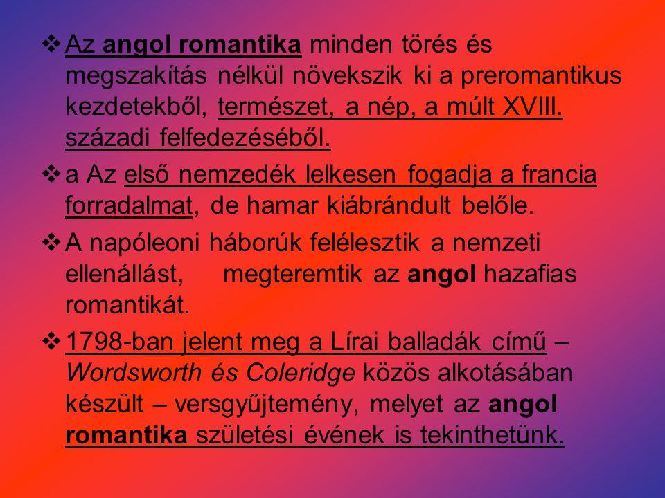 Az angol romantika minden törés és megszakítás nélkül növekszik ki a preromantikus kezdetekből, természet, a nép, a múlt XVIII. századi felfedezéséből.