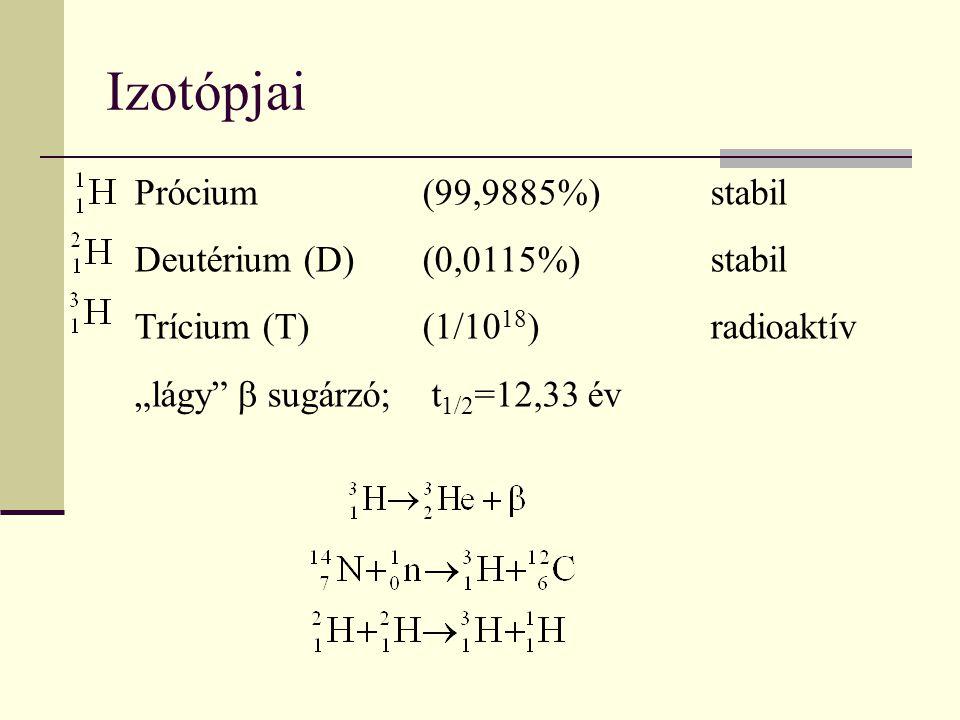 Izotópjai Prócium (99,9885%) stabil Deutérium (D) (0,0115%) stabil