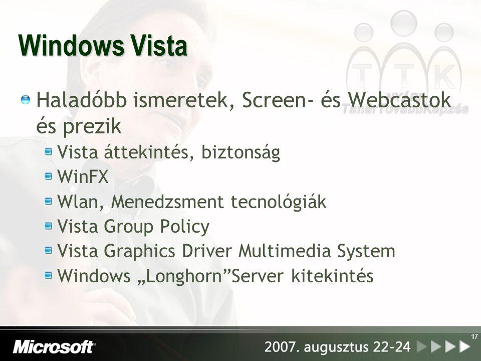 Windows Vista Haladóbb ismeretek, Screen- és Webcastok és prezik