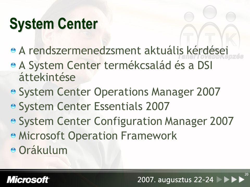 System Center A rendszermenedzsment aktuális kérdései