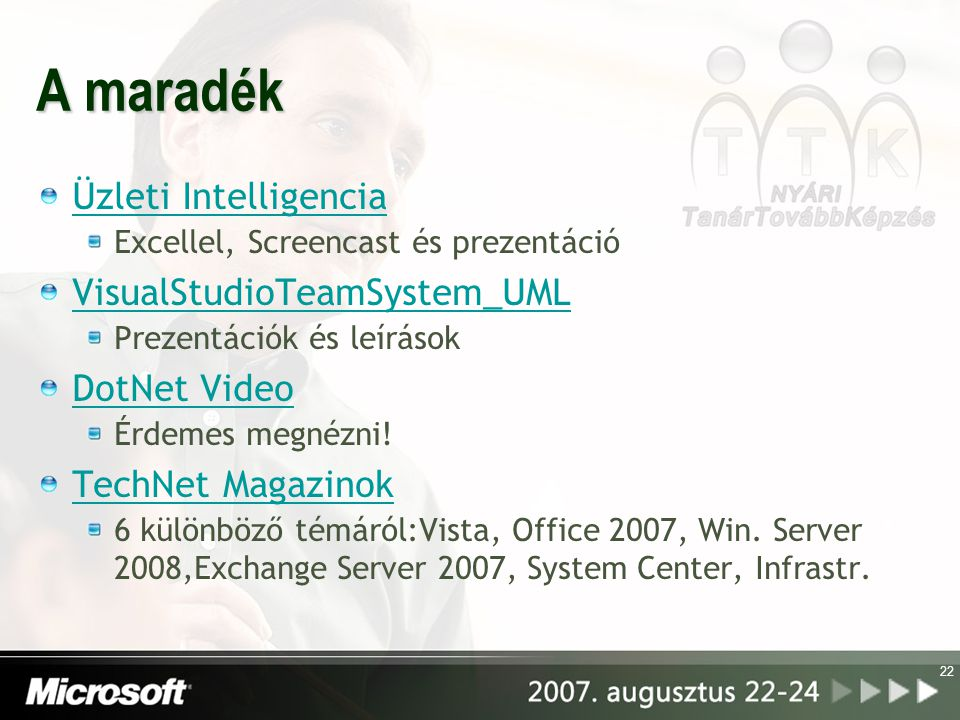 A maradék Üzleti Intelligencia VisualStudioTeamSystem_UML DotNet Video
