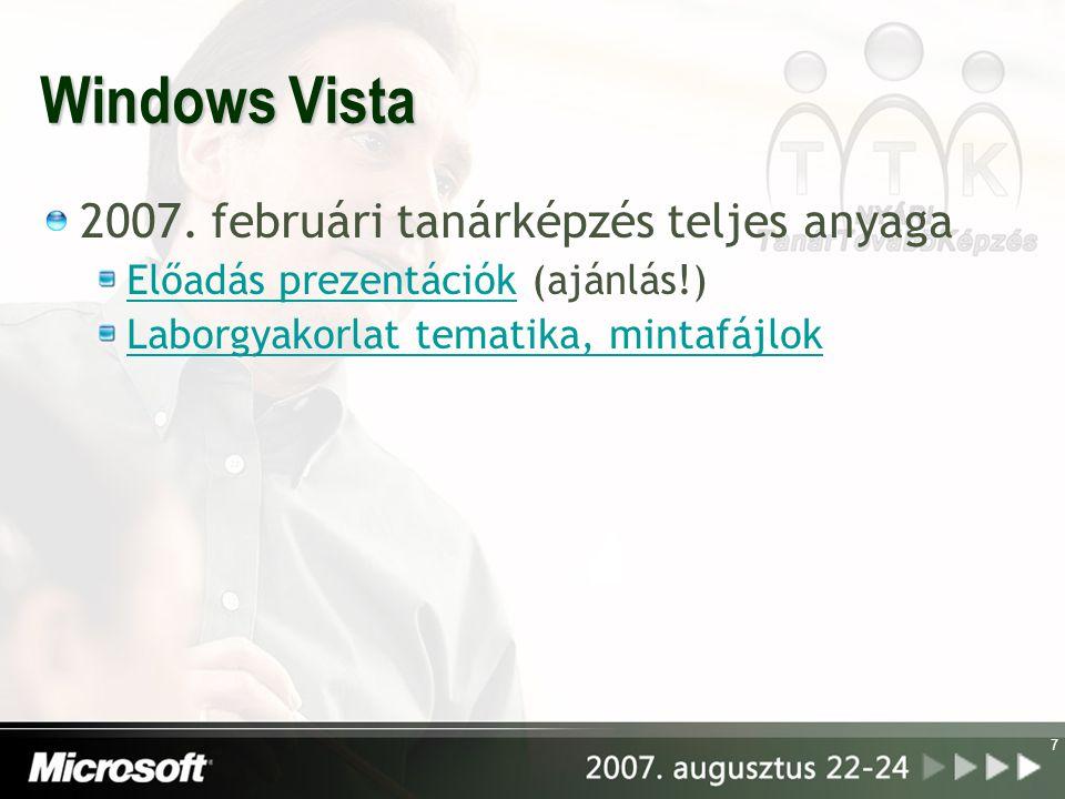 Windows Vista 2007. februári tanárképzés teljes anyaga
