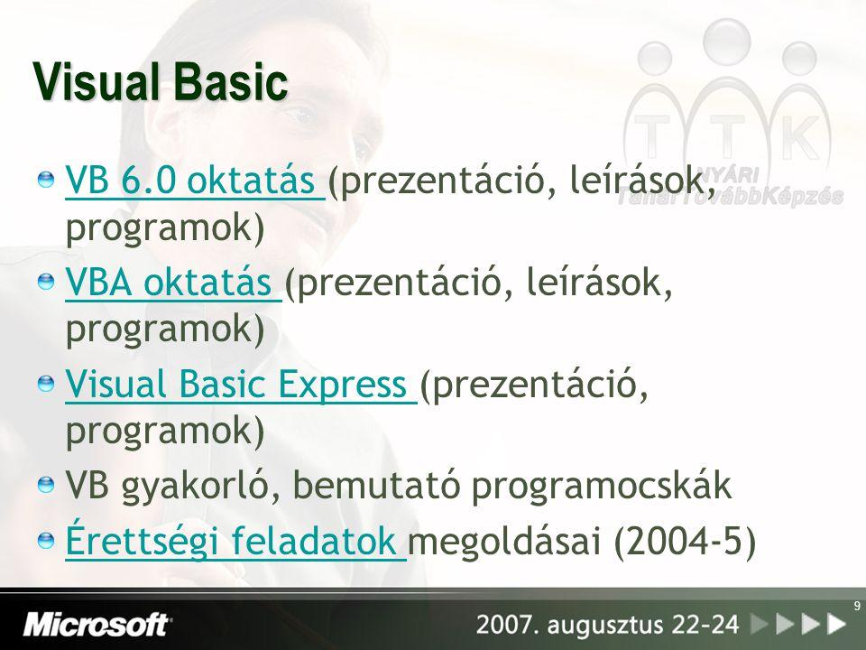 Visual Basic VB 6.0 oktatás (prezentáció, leírások, programok)