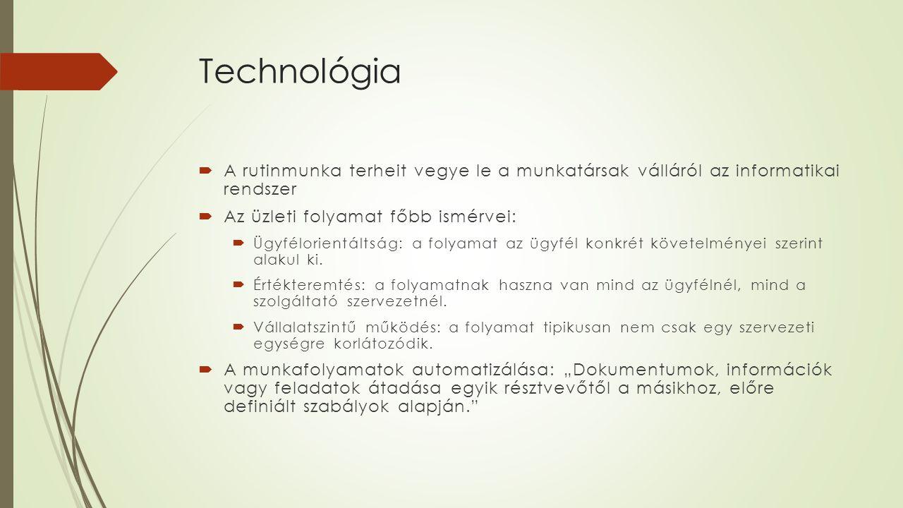 Technológia A rutinmunka terheit vegye le a munkatársak válláról az informatikai rendszer. Az üzleti folyamat főbb ismérvei:
