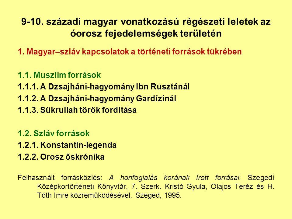 9-10. századi magyar vonatkozású régészeti leletek az óorosz fejedelemségek területén