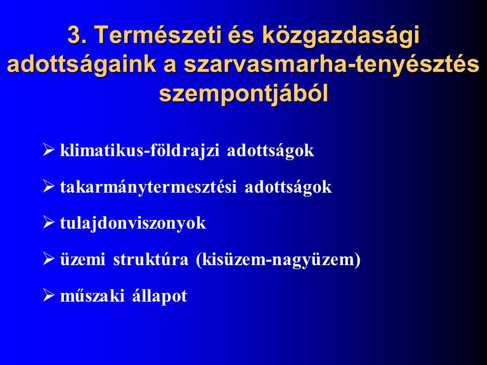 3. Természeti és közgazdasági adottságaink a szarvasmarha-tenyésztés szempontjából