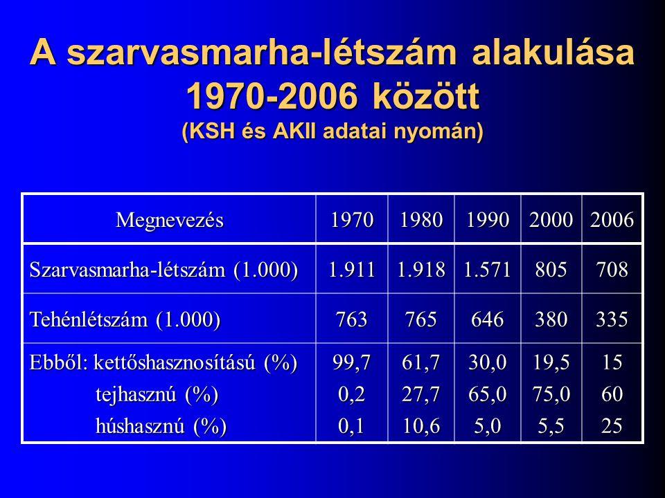 A szarvasmarha-létszám alakulása 1970-2006 között (KSH és AKII adatai nyomán)
