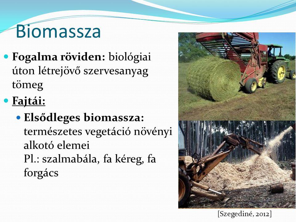 Biomassza Fogalma röviden: biológiai úton létrejövő szervesanyag tömeg