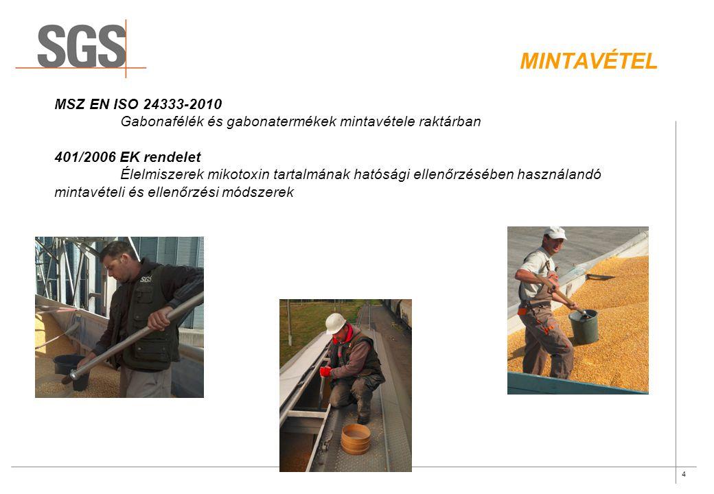 Mintavétel MSZ EN ISO 24333-2010. Gabonafélék és gabonatermékek mintavétele raktárban. 401/2006 EK rendelet.