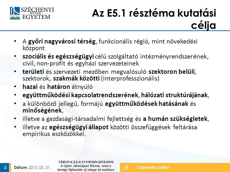 Az E5.1 résztéma kutatási célja