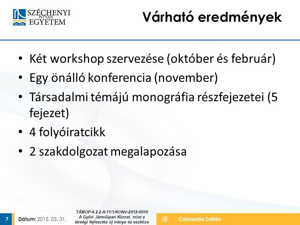 Két workshop szervezése (október és február)