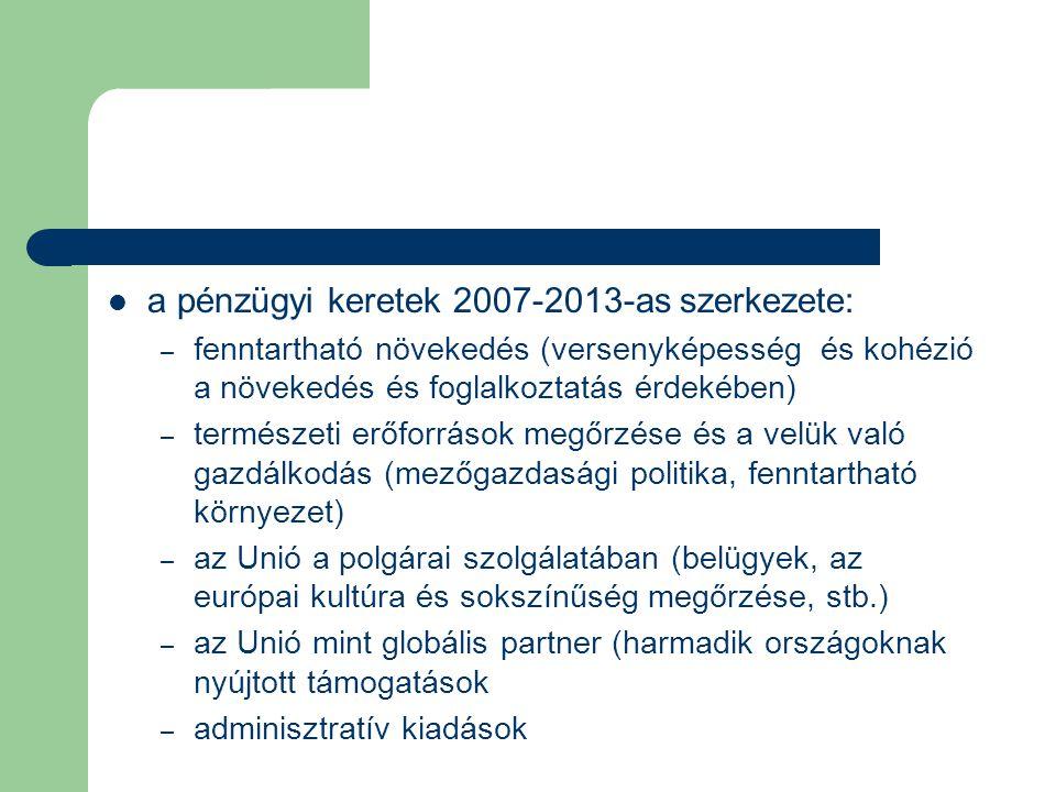 a pénzügyi keretek 2007-2013-as szerkezete: