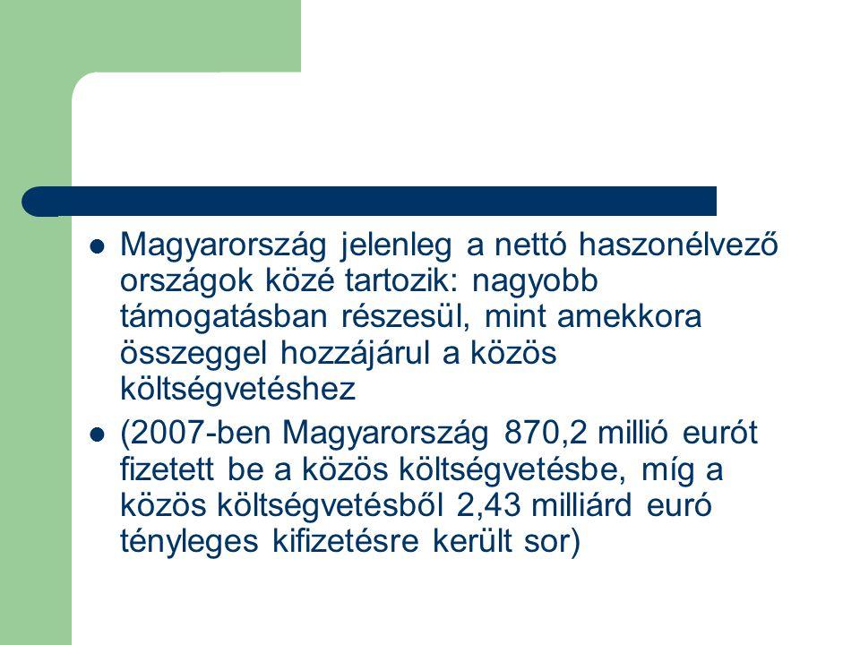 Magyarország jelenleg a nettó haszonélvező országok közé tartozik: nagyobb támogatásban részesül, mint amekkora összeggel hozzájárul a közös költségvetéshez