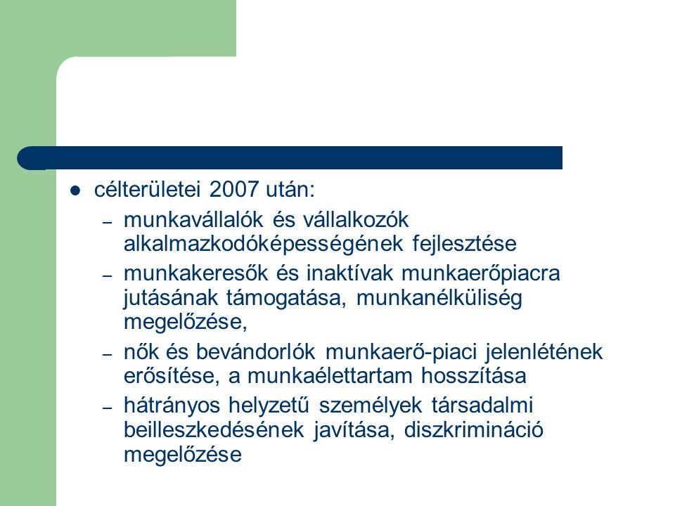 célterületei 2007 után: munkavállalók és vállalkozók alkalmazkodóképességének fejlesztése.