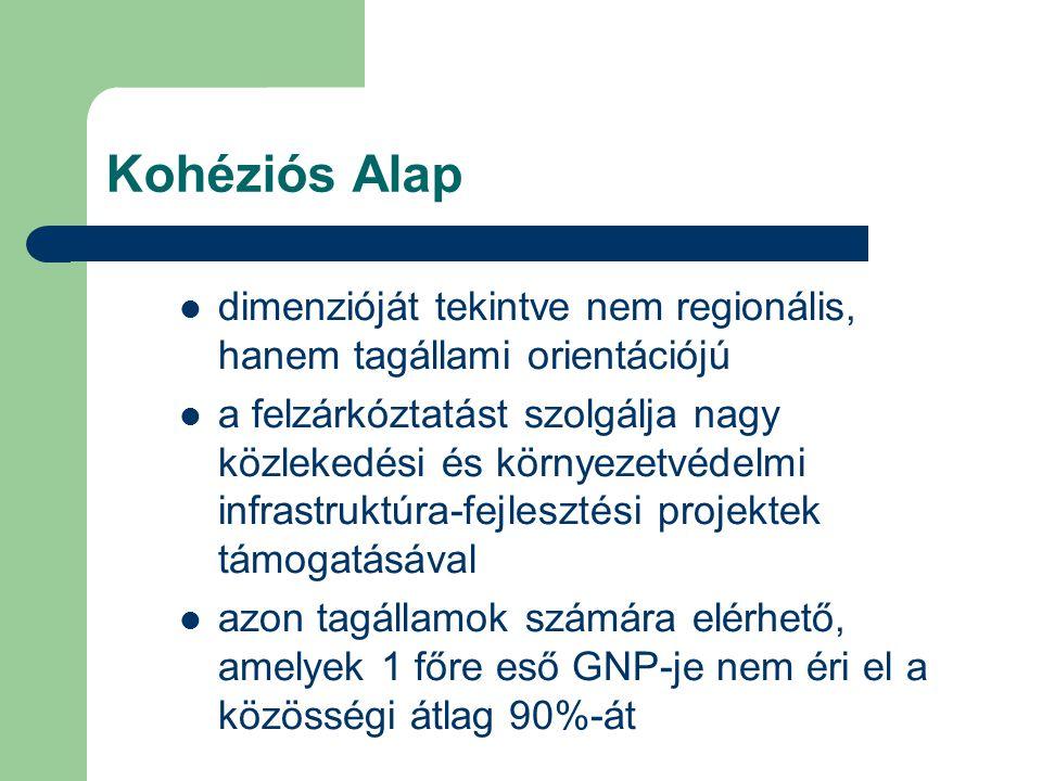Kohéziós Alap dimenzióját tekintve nem regionális, hanem tagállami orientációjú.