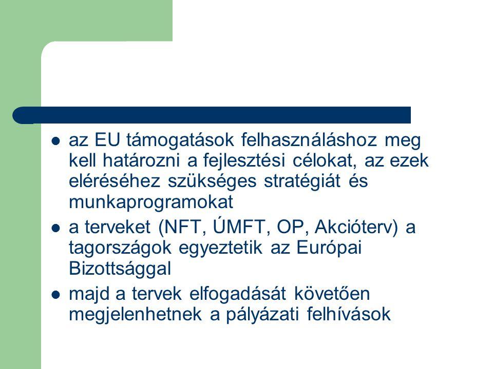 az EU támogatások felhasználáshoz meg kell határozni a fejlesztési célokat, az ezek eléréséhez szükséges stratégiát és munkaprogramokat