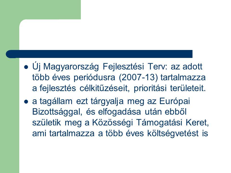 Új Magyarország Fejlesztési Terv: az adott több éves periódusra (2007-13) tartalmazza a fejlesztés célkitűzéseit, prioritási területeit.