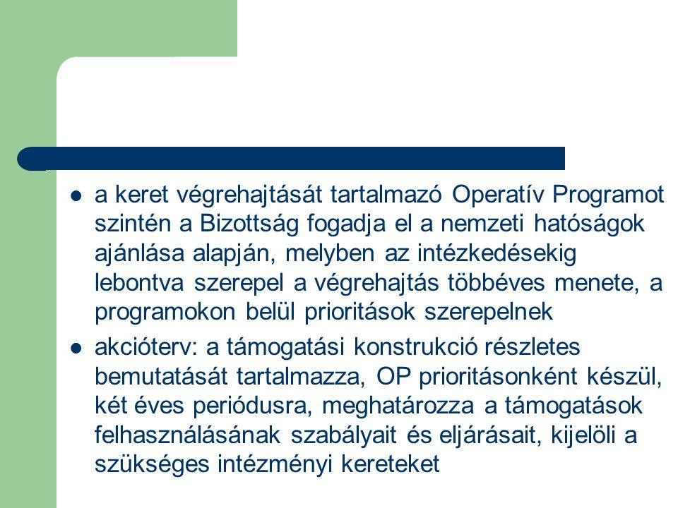 a keret végrehajtását tartalmazó Operatív Programot szintén a Bizottság fogadja el a nemzeti hatóságok ajánlása alapján, melyben az intézkedésekig lebontva szerepel a végrehajtás többéves menete, a programokon belül prioritások szerepelnek