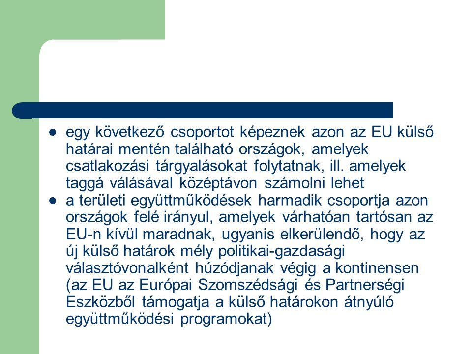 egy következő csoportot képeznek azon az EU külső határai mentén található országok, amelyek csatlakozási tárgyalásokat folytatnak, ill. amelyek taggá válásával középtávon számolni lehet