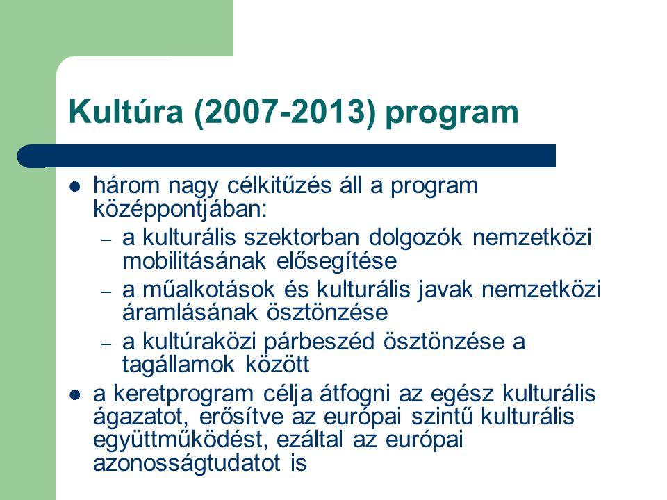 Kultúra (2007-2013) program három nagy célkitűzés áll a program középpontjában: