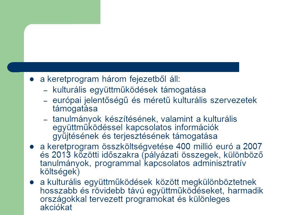 a keretprogram három fejezetből áll: