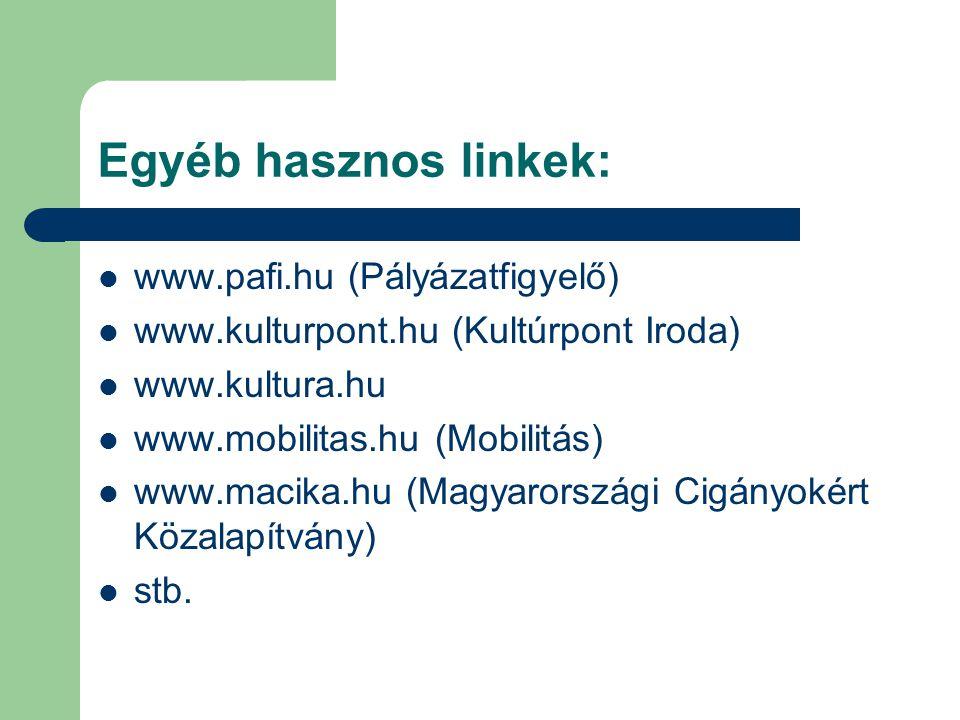 Egyéb hasznos linkek: www.pafi.hu (Pályázatfigyelő)