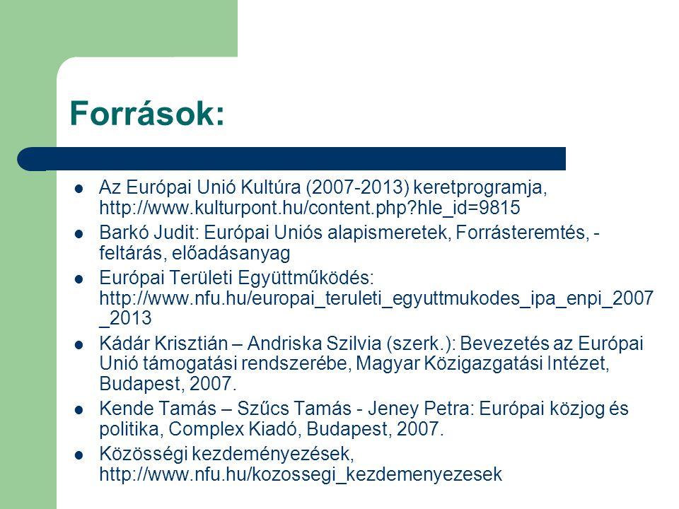 Források: Az Európai Unió Kultúra (2007-2013) keretprogramja, http://www.kulturpont.hu/content.php hle_id=9815.