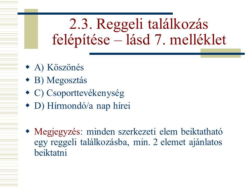 2.3. Reggeli találkozás felépítése – lásd 7. melléklet